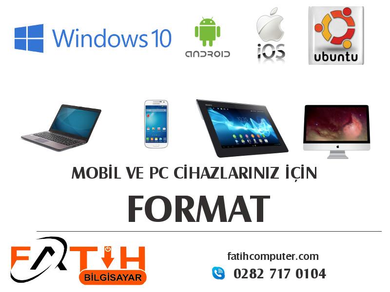 Telefon tablet pc bilgisayar laptop için format atma.